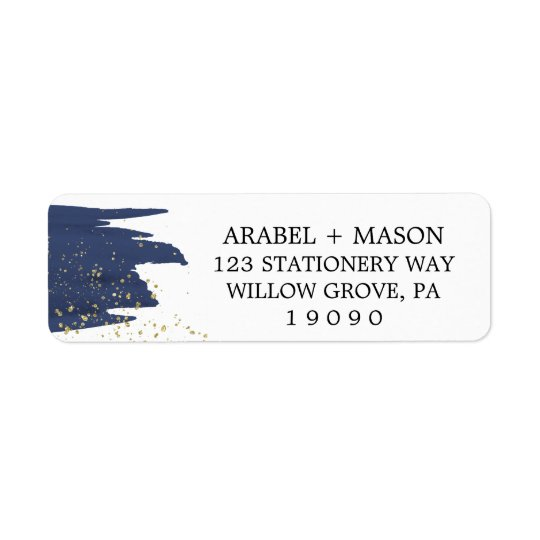 Watercolor Navy and Gold Sparkle Wedding Return Address Label