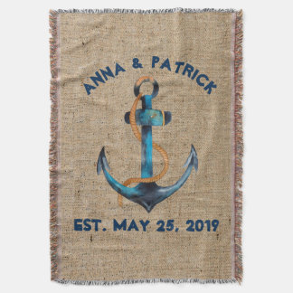 Watercolor Navy Blue Anchor W/Rope Personalized Throw Blanket