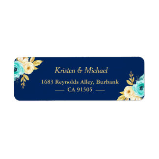 Watercolor Navy Blue Mint Gold Garden Floral