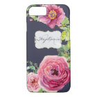 Watercolor Navy Blue n Pink Peony Rose Faux Gold iPhone 8/7 Case