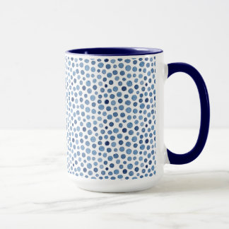 watercolor navy dotted pattern clean style mug