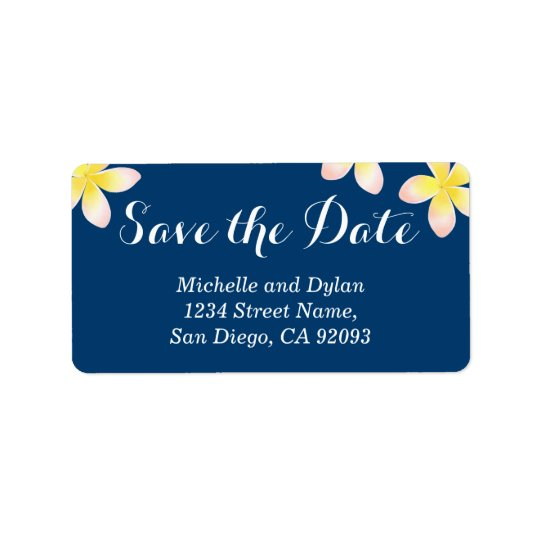 Watercolor Navy Nautical Plumeria Save the Date Label