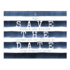 Watercolor navy stripes nautical save the date postcard