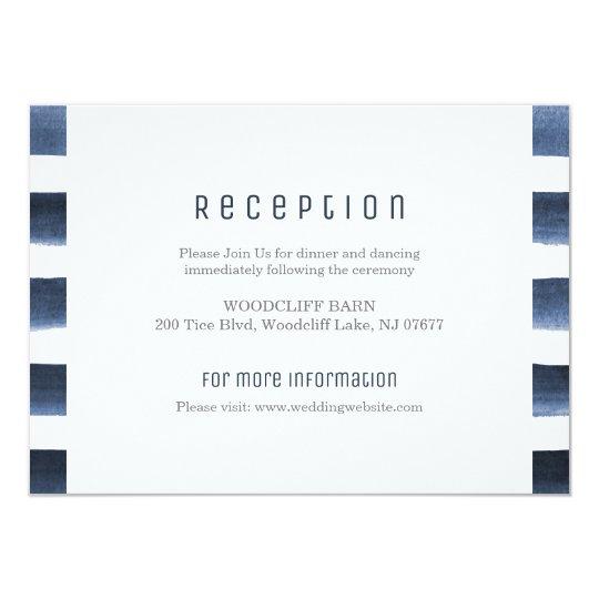 Watercolor navy stripes nautical wedding reception card