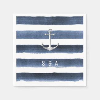 Watercolor navy stripes with anchor beach wedding disposable napkin