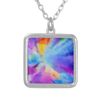 Watercolor Nebula Silver Plated Necklace