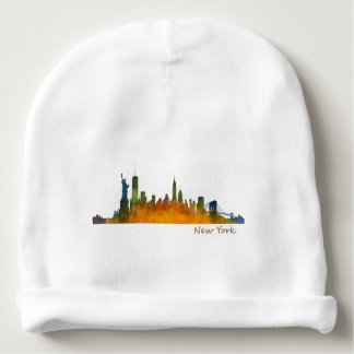 Watercolor New York Skyline Baby Beanie