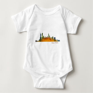 Watercolor New York Skyline Baby Bodysuit