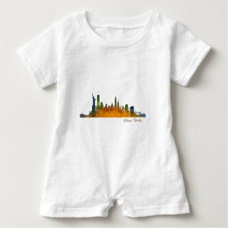 Watercolor New York Skyline Baby Romper