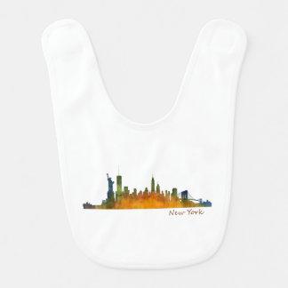 Watercolor New York Skyline Bib