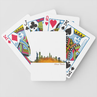 Watercolor New York Skyline Bicycle Playing Cards