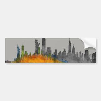 Watercolor New York Skyline City Shadow NYC label