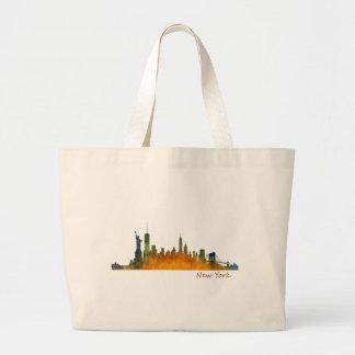 Watercolor New York Skyline Large Tote Bag