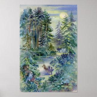 Watercolor Night Scene Poster