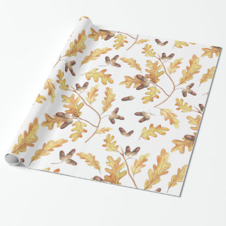 Watercolor Oak Leaves and Acorns Wrapping Paper