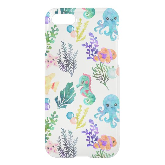 Watercolor Ocean Animals Octopus Seahorse Starfish iPhone 8/7 Case
