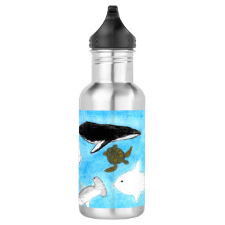 Watercolor Ocean Animals Water Bottle
