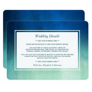Watercolor Ocean Starfish Beach Wedding Detail Card