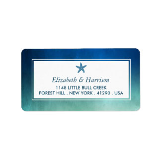Watercolor Ocean Starfish Beach Wedding Label