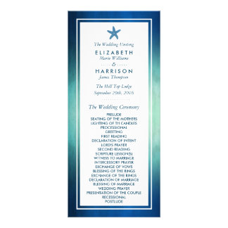 Watercolor Ocean Starfish Beach Wedding Program