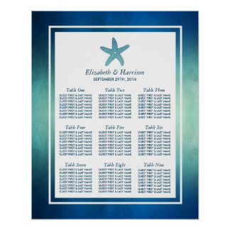 Watercolor Ocean Starfish Beach Wedding Seating Poster