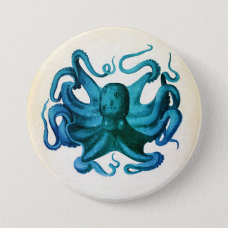 Watercolor Octopus Illustration 3 Inch Round Button