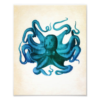 Watercolor Octopus Illustration Photo Print