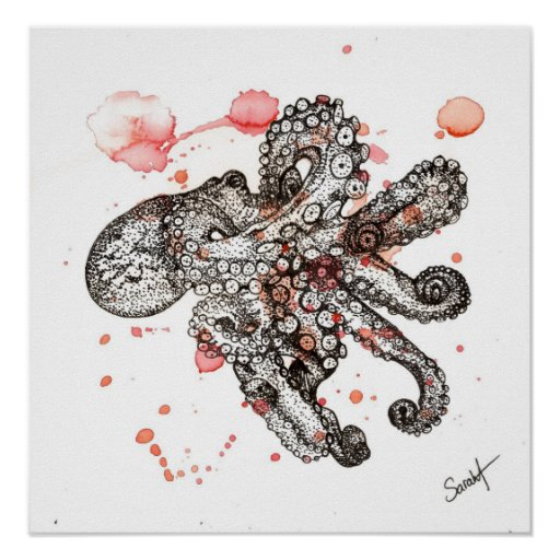 Watercolor Octopus Poster