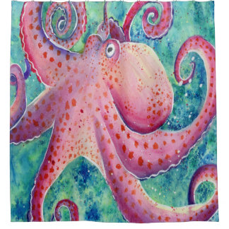 Watercolor Octopus Shower Curtain