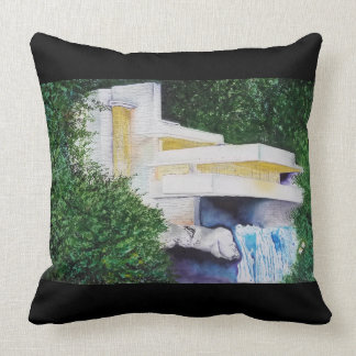 Watercolor of Falling Waters Throw Pillow