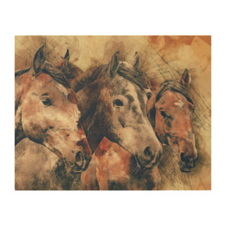 Watercolor of Horse Trio Wood Wall Art Wood Canvases