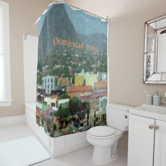 Watercolor of Oranjestad, Aruba Shower Curtain