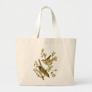 Watercolor of  Sparrows Large Tote Bag
