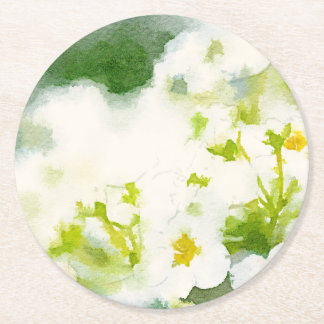 Watercolor of White Flowers Round Paper Coaster