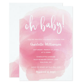 Watercolor Oh Baby Shower Invitation