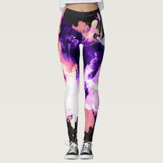 Watercolor Oil Paint Purple Lavendar canvas Brush Leggings
