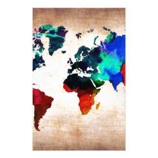 Watercolor old world map cute stationery