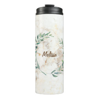 Watercolor olive branch leaves marble name thermal tumbler