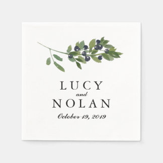 Watercolor Olive Orchard | Wedding Reception Paper Napkins
