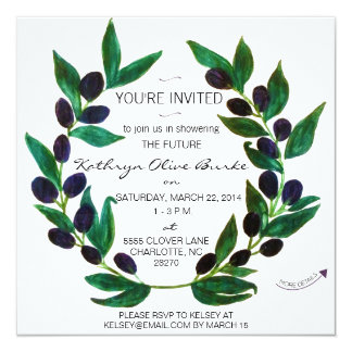 Watercolor Olive Wreath Bridal Shower Invitation