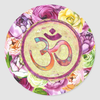 Watercolor OM symbol  with flowers Classic Round Sticker