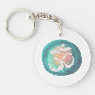 Watercolor Om Symbol YOGA Meditation Instructor Keychain