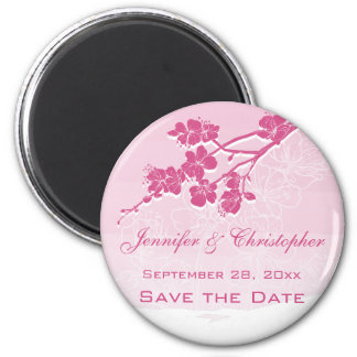 Watercolor Ombre Pink Spring Blossom Save the Date 2 Inch Round Magnet