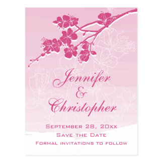 Watercolor Ombre Pink Spring Blossom Save the Date Postcard