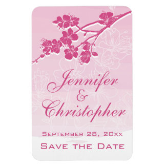 Watercolor Ombre Pink Spring Blossom Save the Date Rectangular Photo Magnet