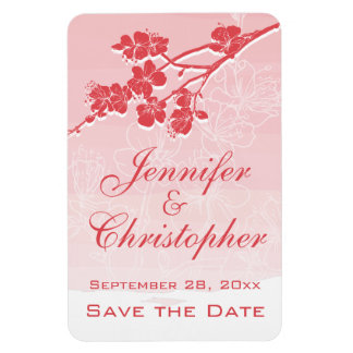 Watercolor Ombre Red Spring Blossom Save the Date Rectangular Photo Magnet