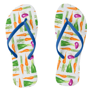 Watercolor Onion and Carrots Flip Flops