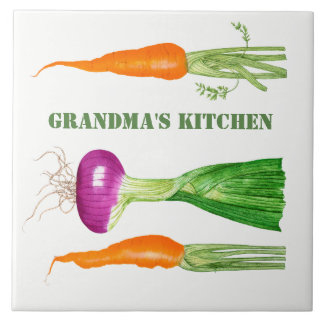 Watercolor Onion and Carrots Tile