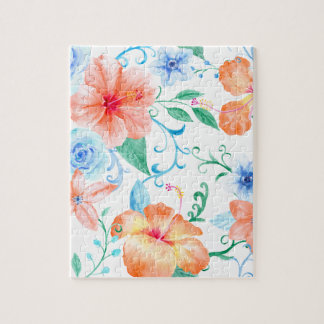 Watercolor Orange and Blue Flower Pattern Jigsaw Puzzle