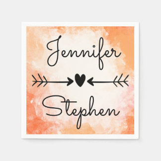 Watercolor Orange & Black Wedding Heart & Arrows Paper Napkins